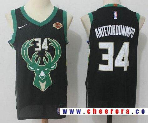 72e847134e1a Men s Milwaukee Bucks  34 Giannis Antetokounmpo Black 2017-2018 Nike  Swingman Harley Davidson Stitched NBA Jersey  harleydavidson2018