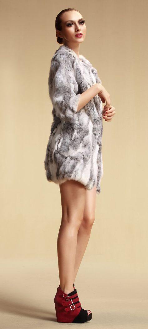 Lady fashion Genuine rabbit Fur coat with half sleeve