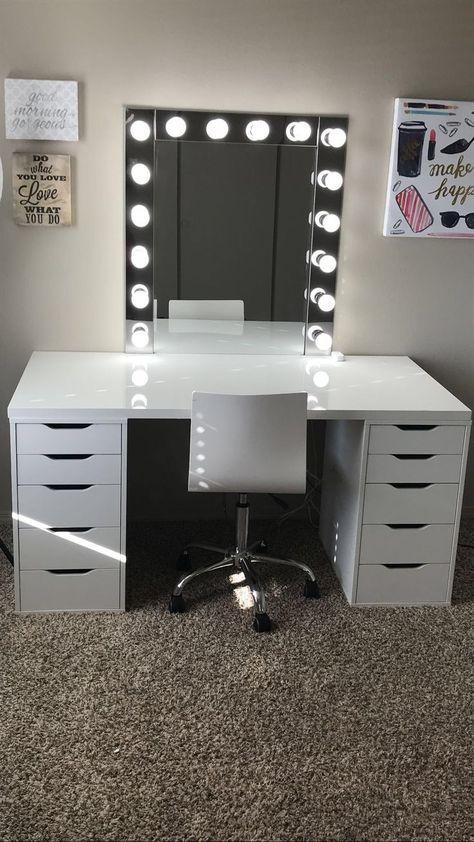 Make-up room inspiration! I love this vanity in my makeup room! Ikea Alex drawers make-up room inspiration! I love this vanity in my makeup room! Ikea Alex drawers Source b Cute Bedroom Ideas, Cute Room Decor, Room Ideas Bedroom, Teen Room Decor, Ikea Room Ideas, Bedroom Small, Trendy Bedroom, Diy Bedroom, Bedroom Decor Glam