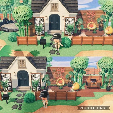 Upgrades to my mid-century modern home ft. a retro beachfront patio deck and a vining bougainvillea wall Animal Crossing Guide, Animal Crossing Villagers, Motif Acnl, Carnivorous Plants, Flowering Vines, Annual Plants, Container Flowers, New Leaf, My Animal