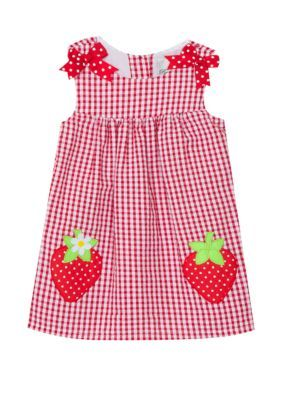 Sunny Fashion Girls Dress Cartoon Polka Dot Bow Tie Strawberry Sundress Size 2-8