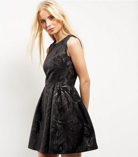 Blue vanilla black metallic leaf skater dress new look dresses jpg 462x525 Vanilla  skater dress c34b4789a