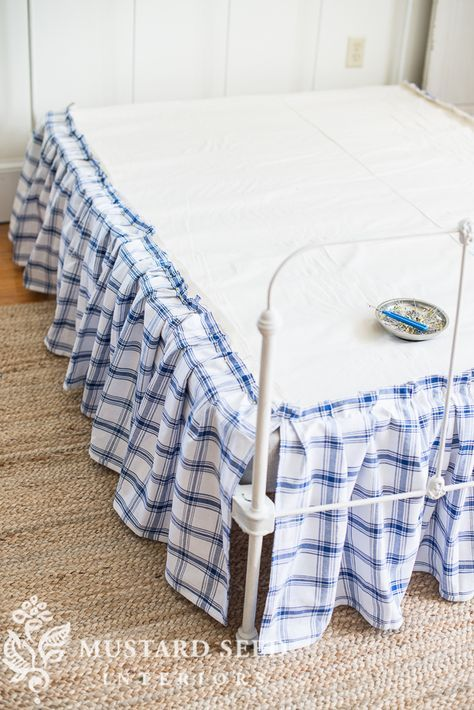 I had several questions on how to make the ruffled bedskirt I had on the antique iron bed frame, so I thought I would make a tutorial. Bed skirts are the kind of thing I've always preferred to make my Ruffle Bed Skirts, Ruffle Bedding, Blue Bedding, Chiffon Skirt, Antique Iron Beds, Mustard Bedding, Diy Bett, No Sew Curtains, Miss Mustard Seeds