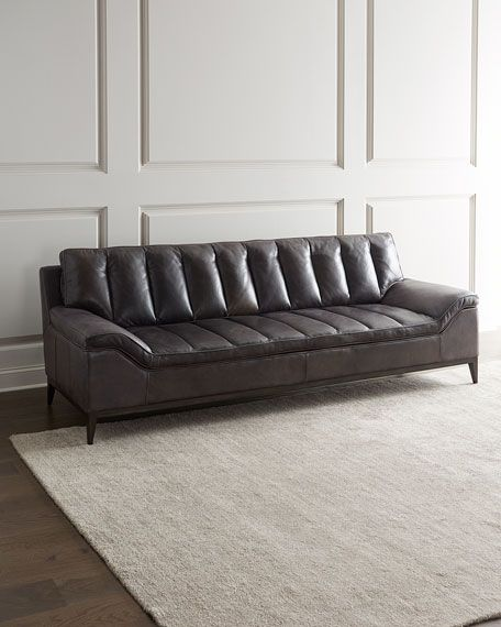 Magnificent Hooker Furniture Kane Channel Tufted Leather Sofa Evergreenethics Interior Chair Design Evergreenethicsorg