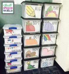 Organizing Materials for the Year! Great idea for organizing your resources for the month or theme. Organizing Materials for the Year! Great idea for organizing your resources for the month or theme. Classroom Organisation, Teacher Organization, Teacher Hacks, Classroom Management, Teacher Memes, Speech Therapy Organization, Speech Therapy Themes, Preschool Speech Therapy, Organized Teacher