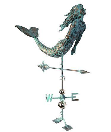 Mermaid Weathervane Copper Patina W Free Roof Mount Only 399 99 At Garden Fun Weather Vanes Mermaid Weathervanes
