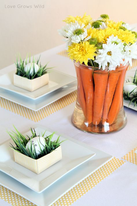 Easter Tablescape with Carrots