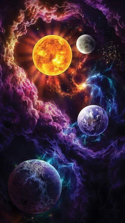 Muzagroo Abstract Organic Sculpture Moon And Night Sky Planets Wallpaper Wallpaper Space Galaxy Art
