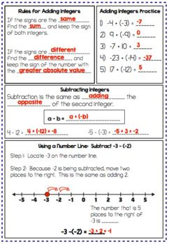 Integer Operations Notes And Practice Pdf And Google Slides Version Integer Operations Interactive Notes Adding And Subtracting Integers Operations with integers worksheet pdf