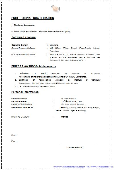 Resume Format of a Chartered Accountant (2) Career Pinterest - chartered accountant resume