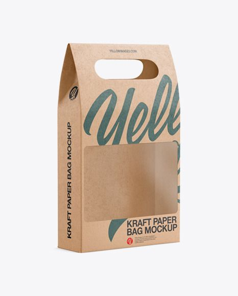 Download Kraft Paper Bag With A Window Mockup In Bag Sack Mockups On Yellow Images Object Mockups In 2021 Paper Bag Kraft Paper Kraft Packaging
