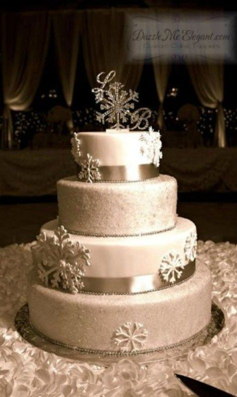 62 Winter Wedding Cakes Ideas With Snowflakes It S A Celebration C K E Pinterest And Cake Toppers