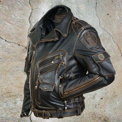 Men S Genuine Cowhide Premium Leather Motorcycle Biker Top Leather Jacket Black In 2020 Leather Jacket Men Style Leather Jacket Men Leather Jacket Outfits