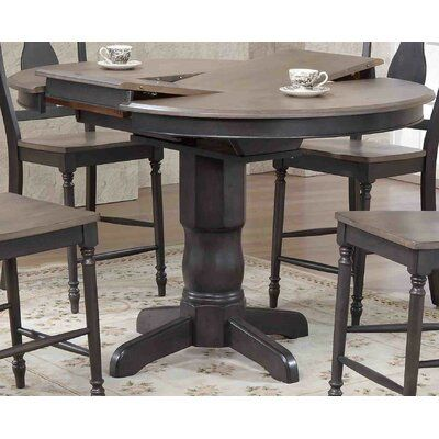 Charlton Home Hamisi Round Counter Height Pub Table Color Gray Stone Black Stone Dining Table In Kitchen Counter Height Pub Table Oval Table Dining