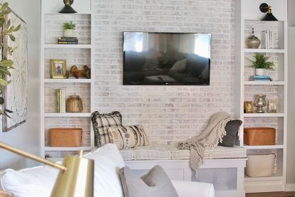 How To Make A Diy Faux Brick Accent Wall Tutorial With Whitewash Accent Walls In Living Room Brick Accent Walls Faux Brick