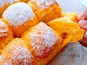 しっとりふわふわかぼちゃちぎりパン By ゆあなママ レシピ 食べ物のアイデア かぼちゃパン 手作りパンレシピ
