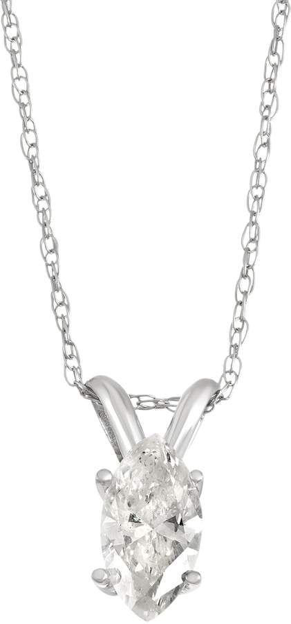 14k White Gold 1 3 Carat T W Marquise Diamond Pendant Necklace Diamond Pendant Diamond White Gold Necklace Diamond