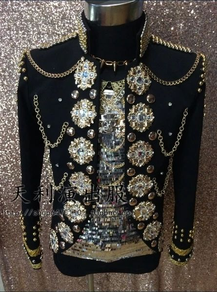 Hot New Male singer Double-breasted Rivets Blazers jacket Coats Men Fashion Bar DJ clothes Mens Stage Wear Singer Costumes