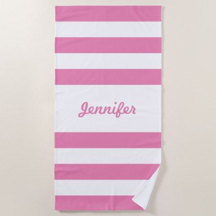 Chic Pink And White Stripes Personalized Beach Towel Zazzle Com