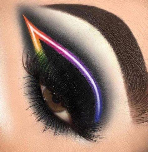 Make up Simple Skincare Tips And Advice For You Black Neon Eye Makeup # # 201 Black Eye Makeup, Makeup Eye Looks, Dramatic Eye Makeup, Eye Makeup Art, Colorful Eye Makeup, Dramatic Eyes, Makeup For Green Eyes, Crazy Makeup, Cute Makeup