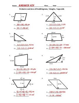 Free Perimeter And Area Of Parallelograms Triangles And