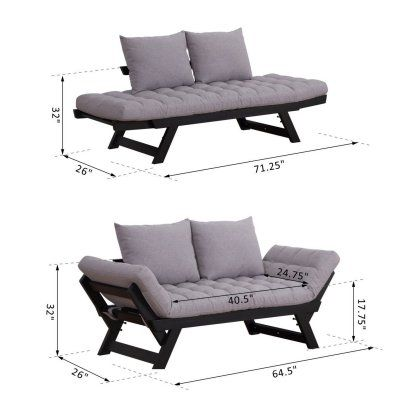 Outsunny 3 Position Convertible Chaise Lounge Sofa Bed Black Light