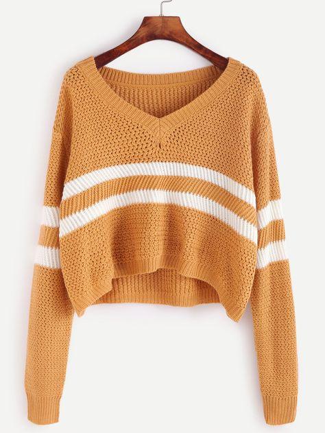Yellow Striped Chevron Knit Sweater in 2019