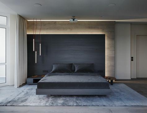 Parete in legno nera, tre lampade sospese, letto in legno ...