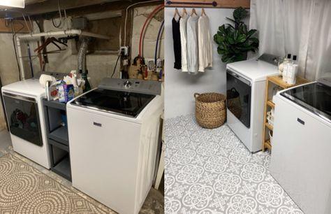 Unfinished Basement Laundry, Basement Laundry Area, Laundry Room Remodel, Laundry Room Design, Unfinished Basements, Small Laundry Rooms, Ideas For Unfinished Basement, Laundry Room Makeovers, Basement Ideas