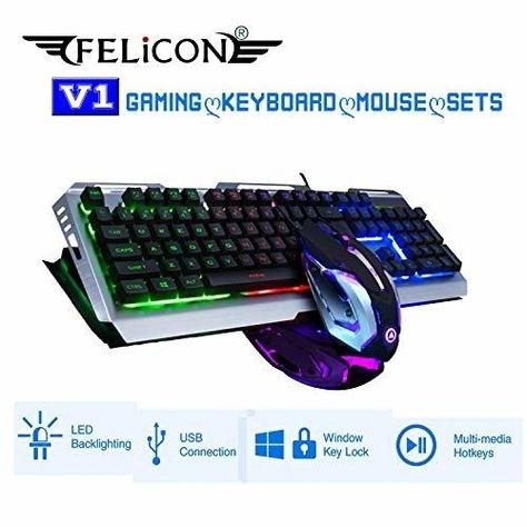 8a37e21c177 FELICON V1 Gaming Keyboard Mouse Sets Wired Rainbow LED Backlit Ergonomic  Metal (eBay Link)