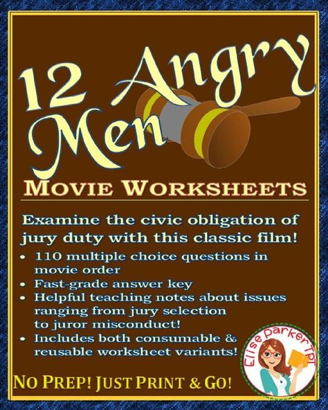 12 Angry Men Movie Worksheets Critical Thinking Activities Choice Questions 12 Angry Men Movie