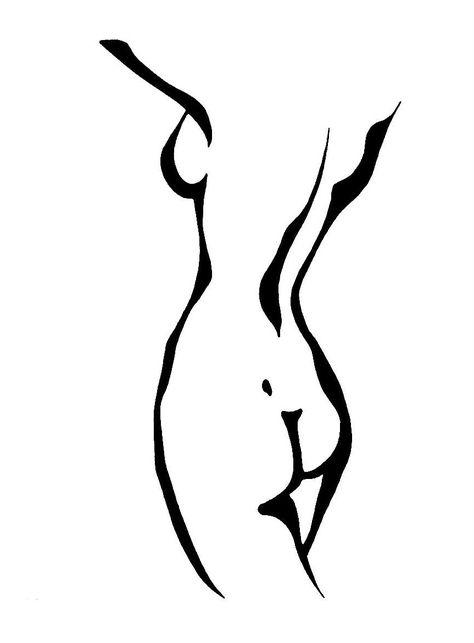 Female nude line art drawing