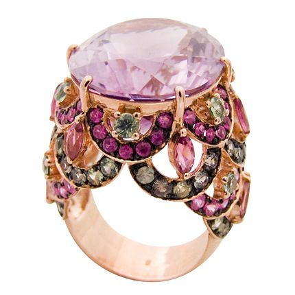 Large oval amethyst and ruby ring