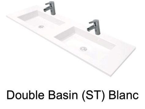 Doppel-Waschbecken Ausgesetzt oder Einbauwaschtisch, Breite 160  cm , Kunstharz Still Lisso weiß