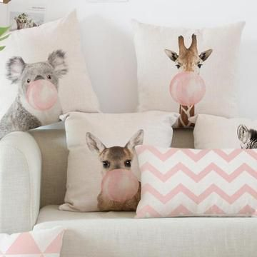 Free Shipping Soft Print Pillow Cushions Pink Animals Blowing Bubbles Geometric Prints Perfum Animal Print Pillows Decorative Pillow Cases Printed Pillow