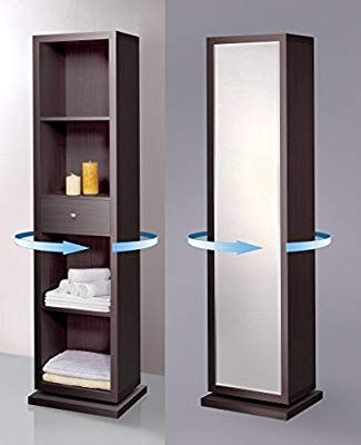Amazon Com Artiva Usa Bella Home Deluxe Accent Sturdy Rotating System Free Standing Mirror And Swivel Cabi Cabinet Shelving Bathroom Linen Cabinet Storage