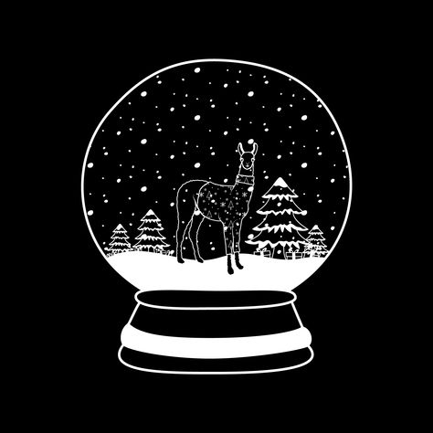 Christmas Llama in a Snow Globe // #llama #black #christmas #llamaillustration #snowglobe #black-and-white #blackandwhite #lineart #christmastree #teepublic #teepublicartist #queens #tshirt #tee #b&w #tshirtdesign #graphictee #christmastshirt #snow #llamatshirt #christmasart #christmasartwork #christmasdrawing #drawing #christmasillustration #tristysnow #thebanannatheory