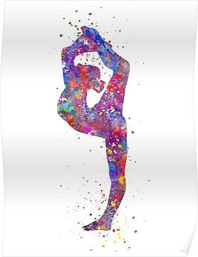 Gymnastics girl, watercolor gymnastics, teen gift, gymnastics wall art Poster