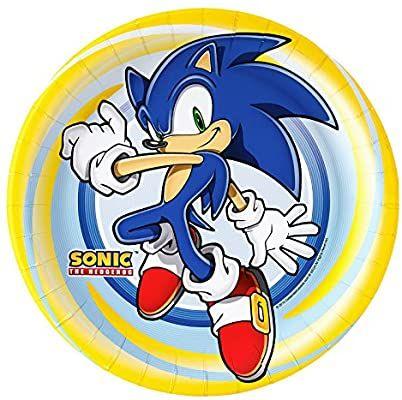 Amazon Com Pratos De Papel De Jantar Sonico The Hedgehog Da Birthday Express 22 86 Cm 8 Unidades To Hedgehog Birthday Sonic Birthday Parties Sonic Birthday