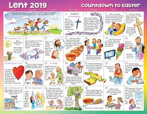 Lent 2019 Calendar For Children Kids Calendar Lent Catholic Lent