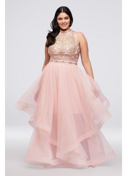 Horsehair Skirt Two-Piece Illusion Plus-Size Dress 8145RN6X ...