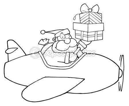 Sayfa Anahat Bir Uçağı Ve Hediye Kutuları Tutarak Santa Boyama