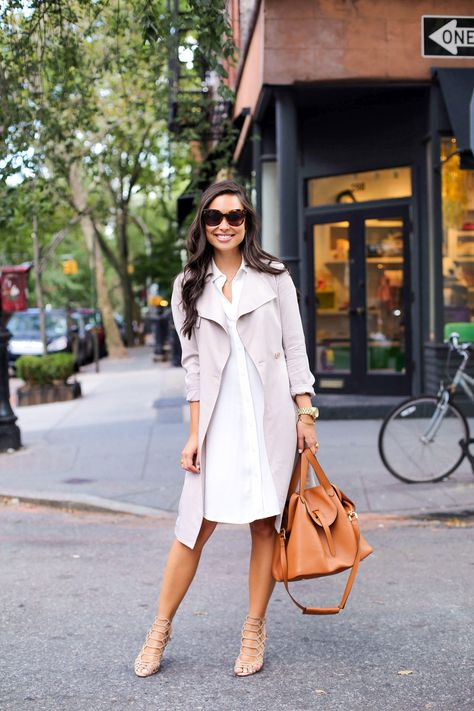 Street Style Bring back pastel colours in this trench coat over a white shirt dress. Dress: H&M, Shoes: Schutz, Coat: Reiss
