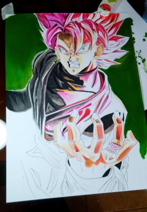 Como Dibujar A Goku Black Ssj Rose Resurrection Fire Spray Painting Acrylic Paint Cls Artz Goku Super Saiyan Goku Super Dragon Ball Super