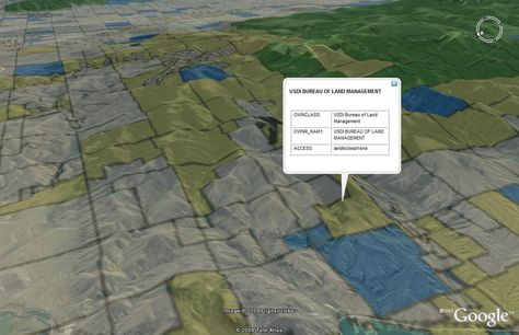 3d Land Ownership Map In Google Earth Gps Map Land Management Map