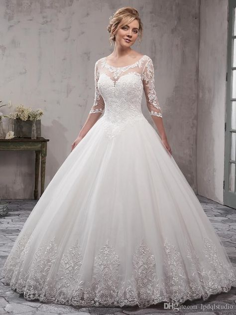 16b0ae666a Stunning Ivory Ball Gown Wedding Dresses Scoop Sheer with Applique 3 4 Long  Sleeves Backless Floor Length Bridal Gowns Sexy Backless Wedding Dress Lace  Ball ...