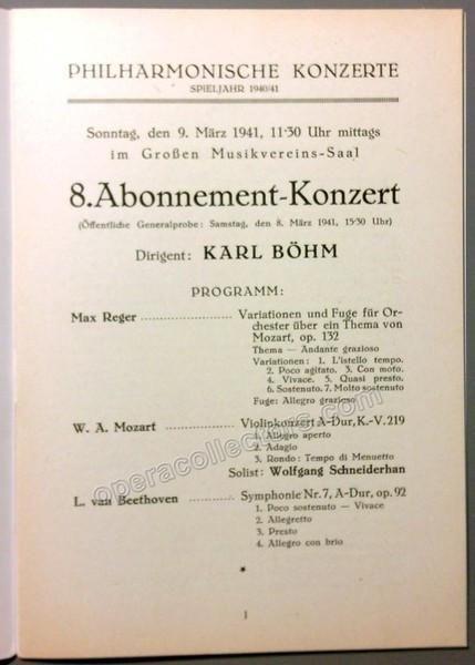 Bohm, Karl - Vienna Philharmonic Concert Program 1941 Vienna - concert program