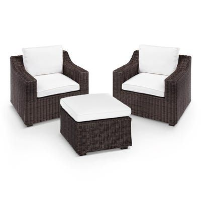 Coral Bay Java Wicker Armchair Ottoman Patio Set With Cushions In 2020 Small Patio Furniture Wicker Armchair Small Outdoor Furniture