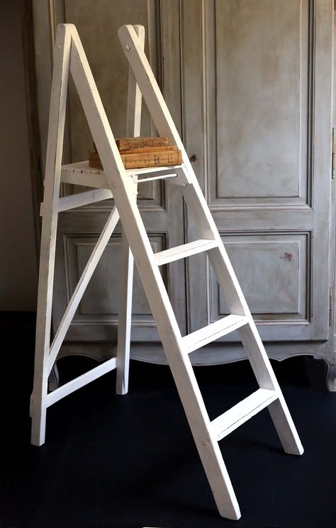 Large Antique French Wooden Step Ladder Rustic Steps White Painted Stepladder Artist Studio Decoration Library Steps Wooden Steps Step Ladders French Antiques