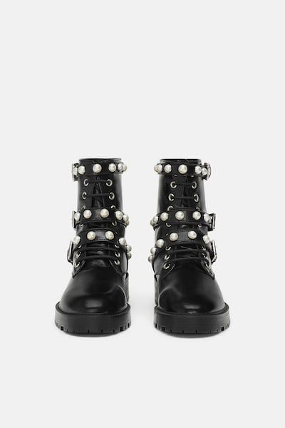 Image 4 of LEATHER ANKLE BOOTS WITH FAUX PEARLS from Zara in